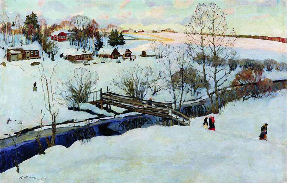 1914-Yon-It's a brege in a winter-Юон-Зима Мостик