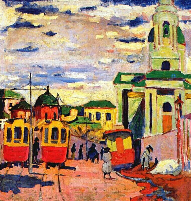 1910-Lentulov-There are streets of Moscow-Улицы Москвы
