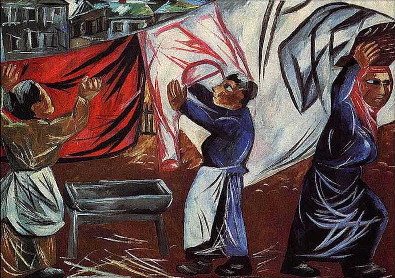 Goncharova-They are washerwomans-Гончарова-Прачки