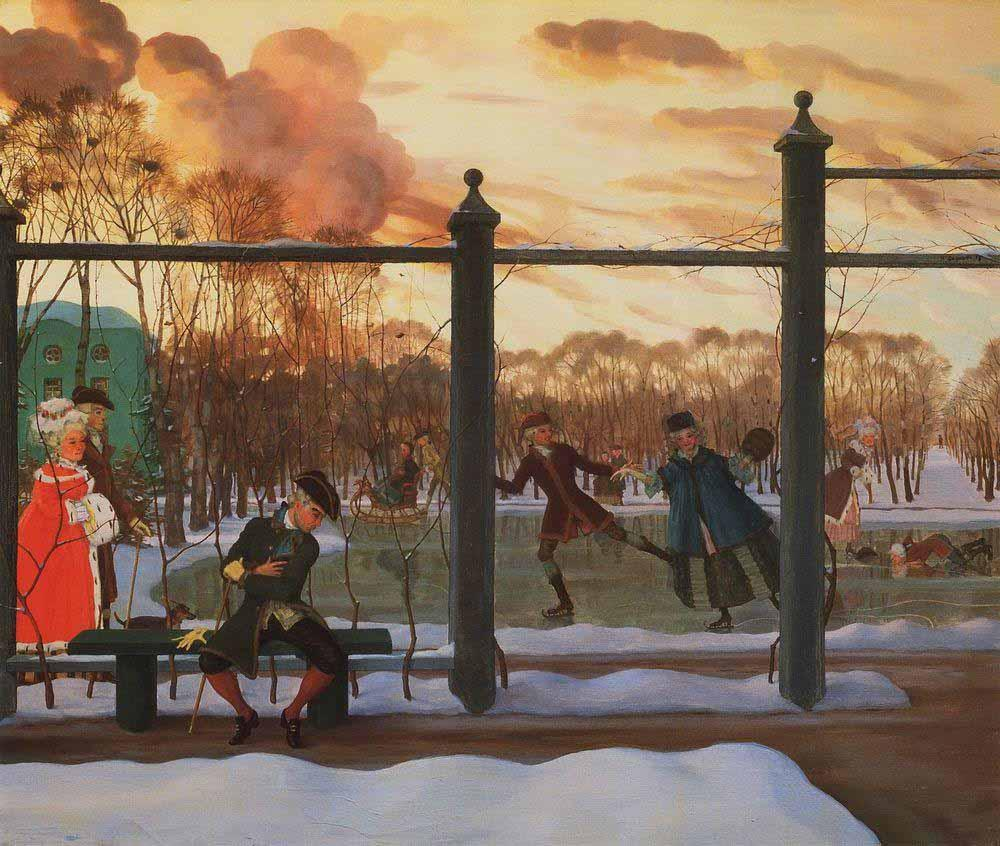 1915-Somov-It's the skating in the winter-Сомов-Зима Каток