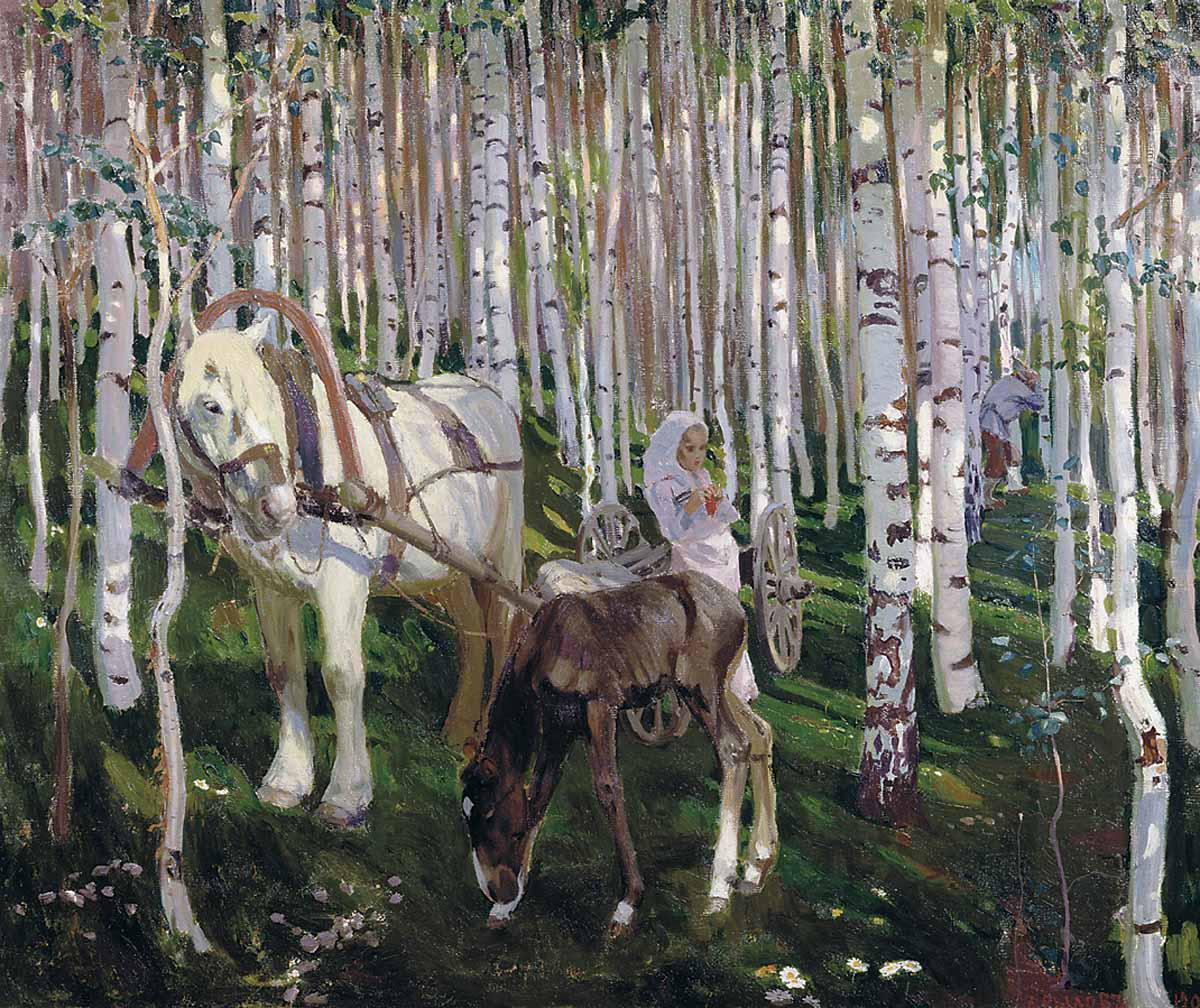 1905-Rylov-She's in the forest-Рылов-В лесу