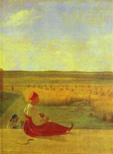 1820-Venetsianov—It's the harvest in summer-Венецианов-На жатве Лето