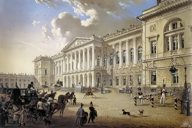 1832-Beggrov-It's Mihilovsky palace-Беггров.Михайловский дворец