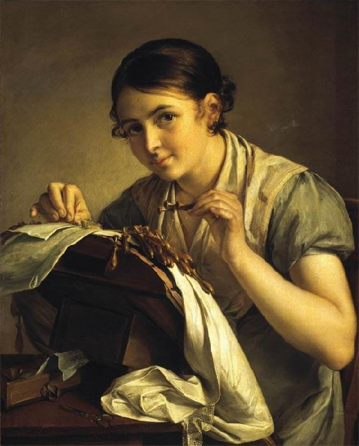 1823-Tropinin-It's the lace maker-Тропинин-Кружевница