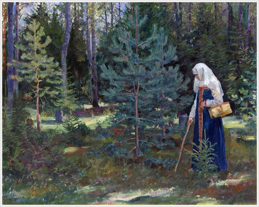 1927-Vinogradov-She collects mashrooms in a forest-Виноградов-Сбор грибов в лесу