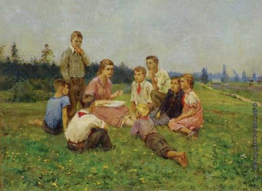 1938-Serov Vlad-They are at the lesson of natural history-Серов Влад-Урок природоведения