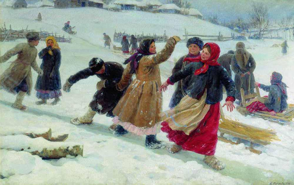1910-Sychcov-They goes for an ice-Сычков-Катание на льду
