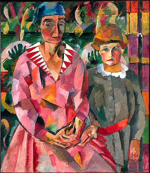 Lentulov-There are the wife and dother-Лентулов-Портрет жены и дочери
