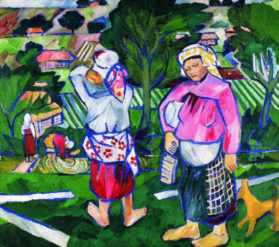 Goncharova-They are peasant womans-Гончарова-Крестьяне