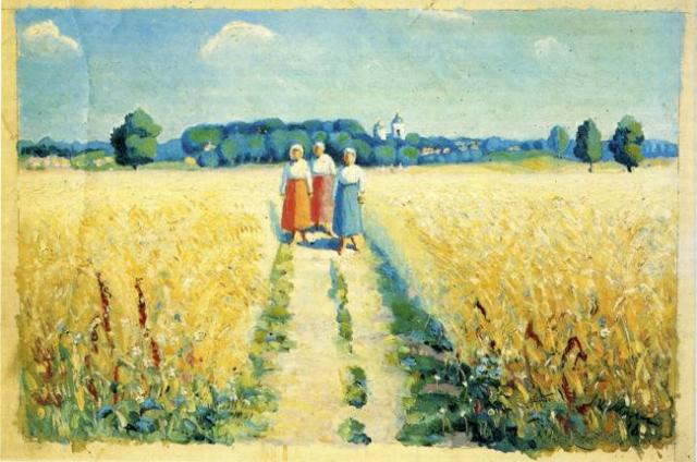 1913-Malevich-They are peasant womans-Малевич-Крестьянки