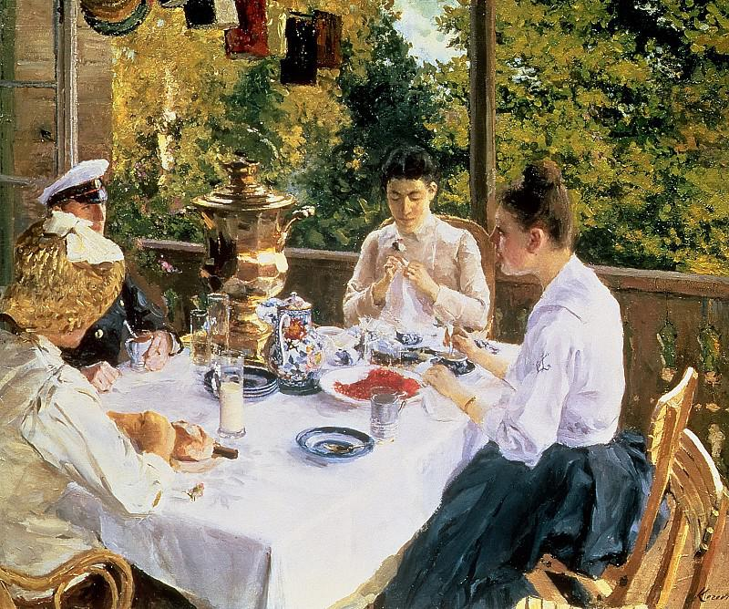 1934-Korovin-They drinks some tea-Коровин-За чайным столом