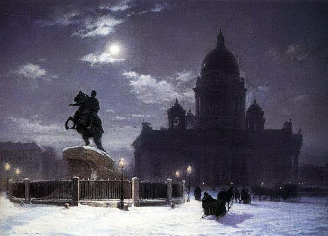 1870-Surikov-There is a monument to Petr 1 in San-Peterburg-Суриков Памятник Петру I в С-Пб