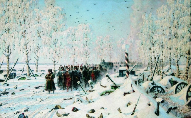 1895-Vereshchagin-Frenchmans retreat and escape from Rossia-Бегство французов из России