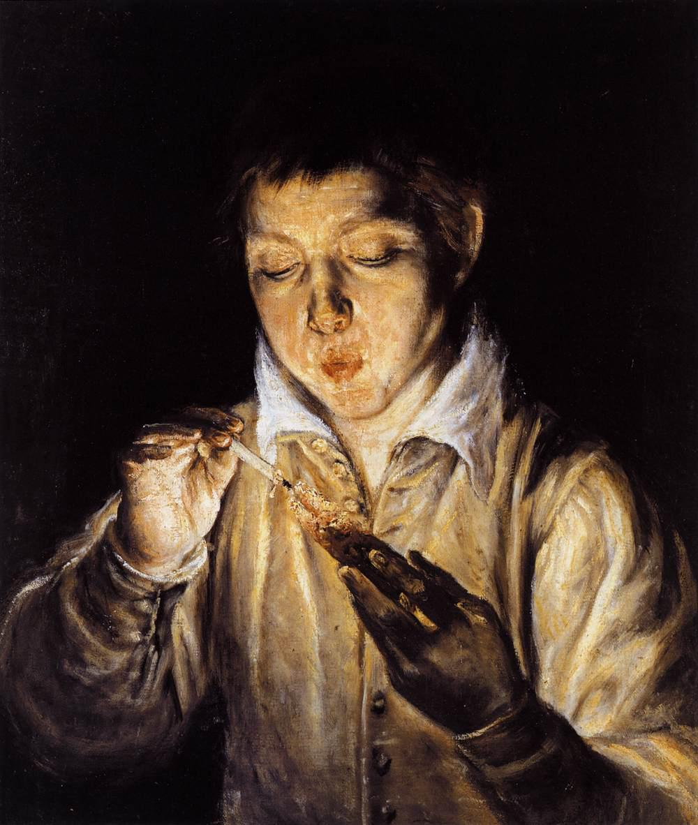 El-Greco-A-Boy-Blowing-on-an-Ember-to-Light-a-Candle-Греко Мальчик